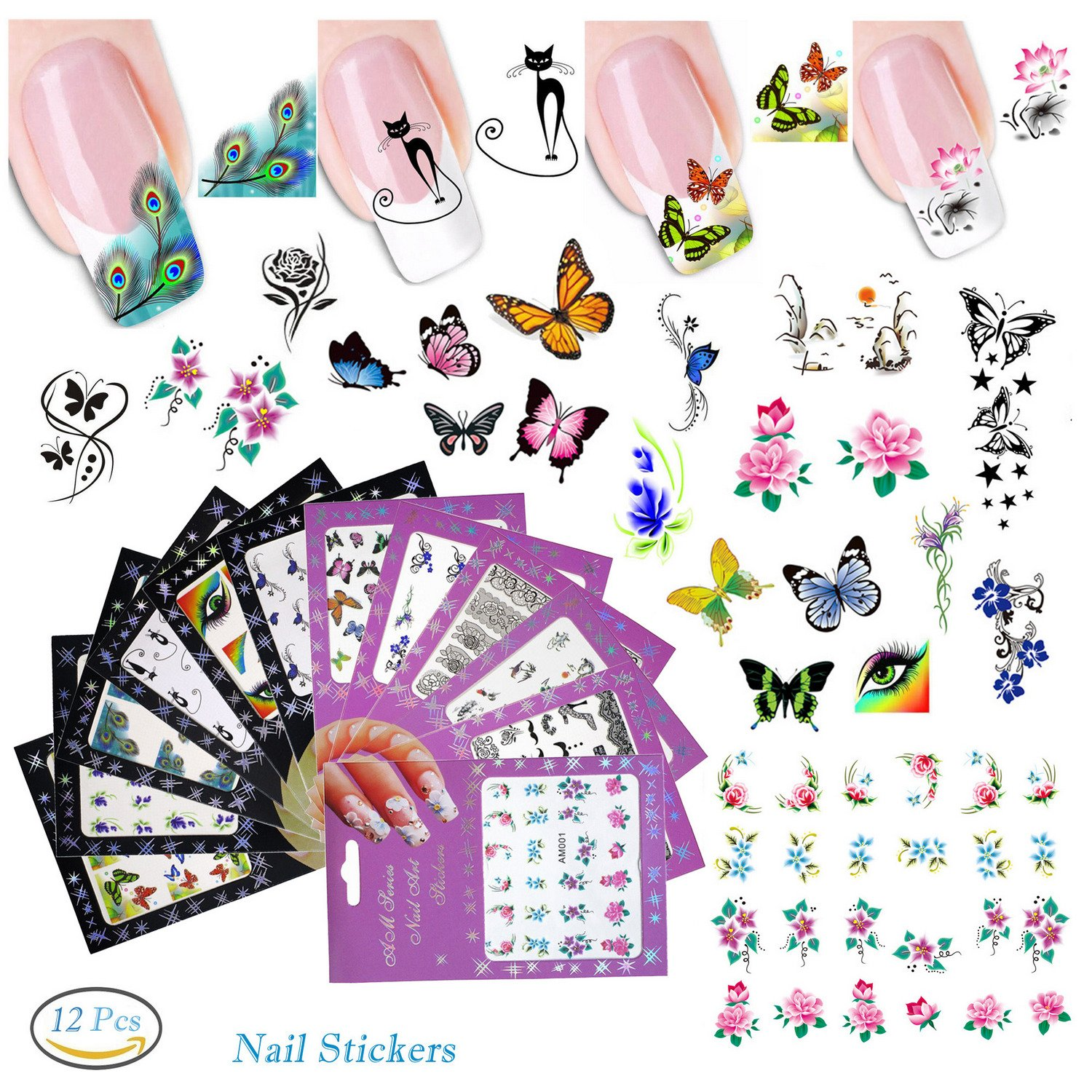 12 Sheets Nail Stickers Nail Foils Adhesive Stickers Flower Cartoon Animal Cat Butterfly Nail Decal DIY Tips Nail Art Decoration Color Nail Beauty Tool (A) LuckForever