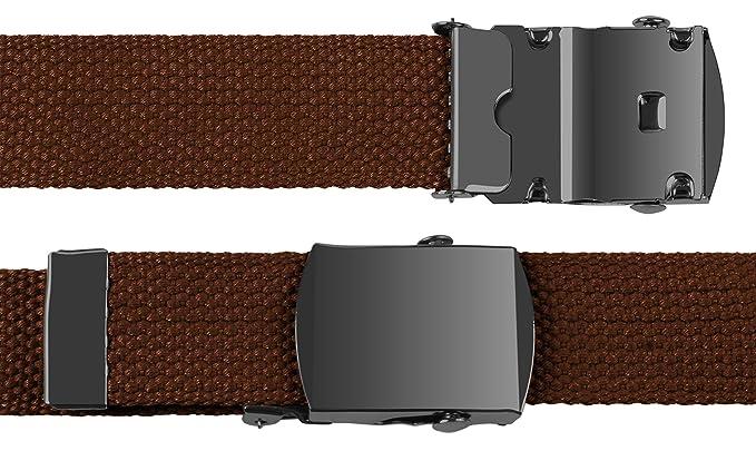 90 inch Brown Canvas Military Army Web Belt Black Buckle 3xL 4XL 5XL  Adjustable 3f6233061bb