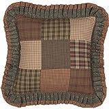 VHC Brands Primitive Bedding Cinnamon Plaid Cotton Patchwork Square Cover Insert Pillow, Dark Olive Green