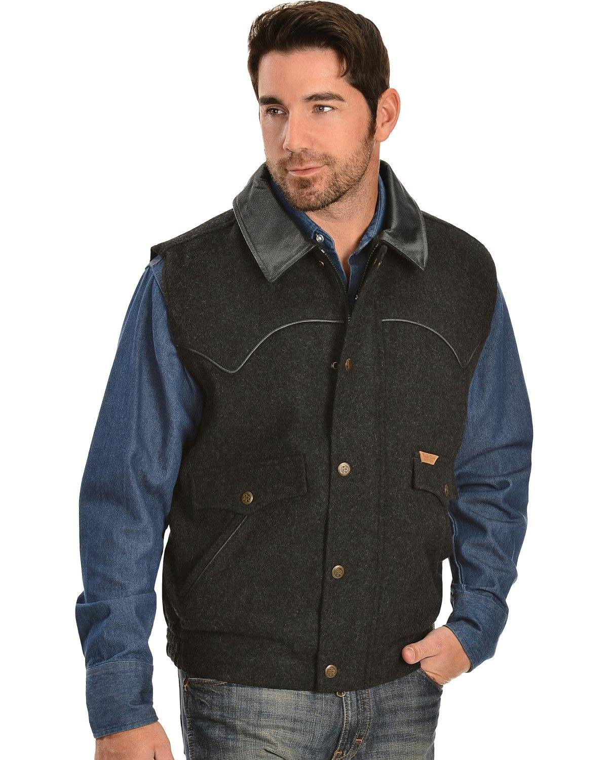 Powder River Outfitters Men's Snap-Front Wool Vest Black Large