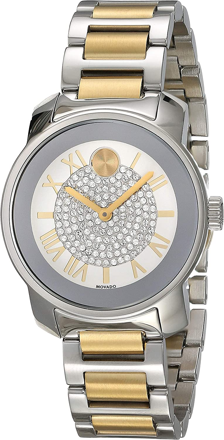 Movado Women's BOLD Luxe Two Tone Watch with Roman Index Dial, Silver/Gold (Model 3600256)