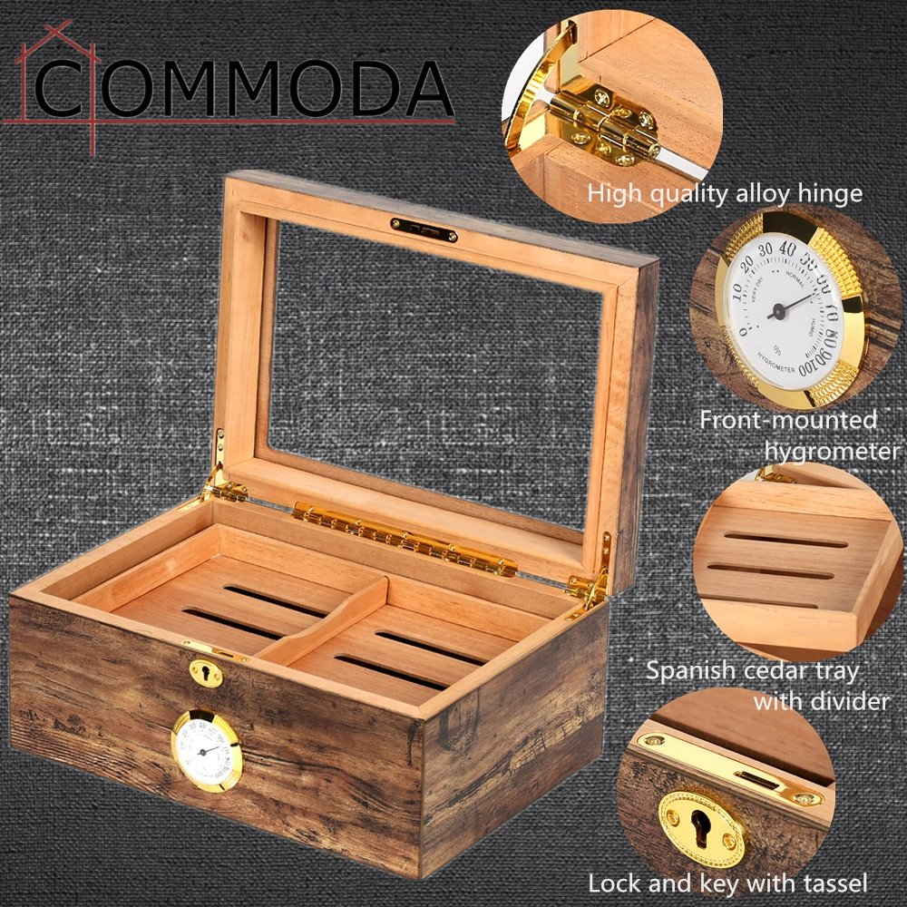 COMMODA Desktop Cigar Humidor Tempered Glasstop with Front Mounted Hygrometer and Humidifier, Cedar Lined Storage Box Spanish Cedar Tray with Divider, Holds 100 Cigars Cigar Free Cutter and Rack by COMMODA (Image #5)