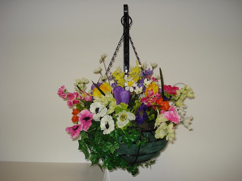 Large Mixed Spring Artificial Flower Hanging Basket Amazon