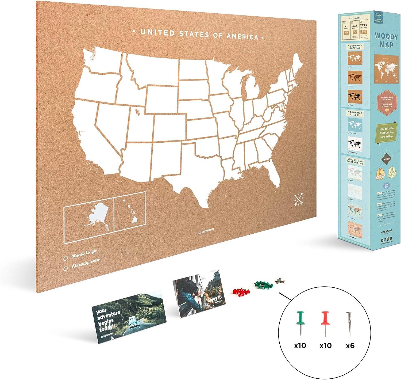 Miss Wood Mapa de Estados Unidos Estampado con Serigrafía sobre ...