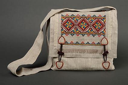 Amazon.com: Handmade Fabric Womens Bag With Cross Stitch ...