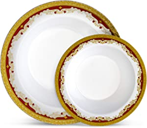 Laura Stein Designer Dinnerware Set | 32 Disposable Plastic Party Bowls | White Wedding Bowl with Burgundy Rim & Gold Accents | Set Includes 16 x 12 oz Soup Bowls + 16 x 5 oz Dessert Bowls | Vintage