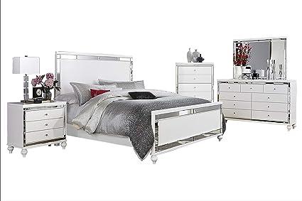 Amazon.com: Acevo Modern Mirrored 5PC Bedroom Set E King Bed ...