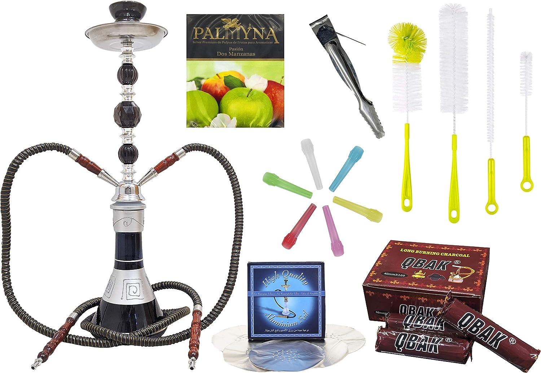 JOVAL - Set de cachimba profesional, de doble manguera. Incluye carbón vegetal, boquillas de plástico, caja de aluminio perforado, kit cepillos de limpieza y melaza para fumar.