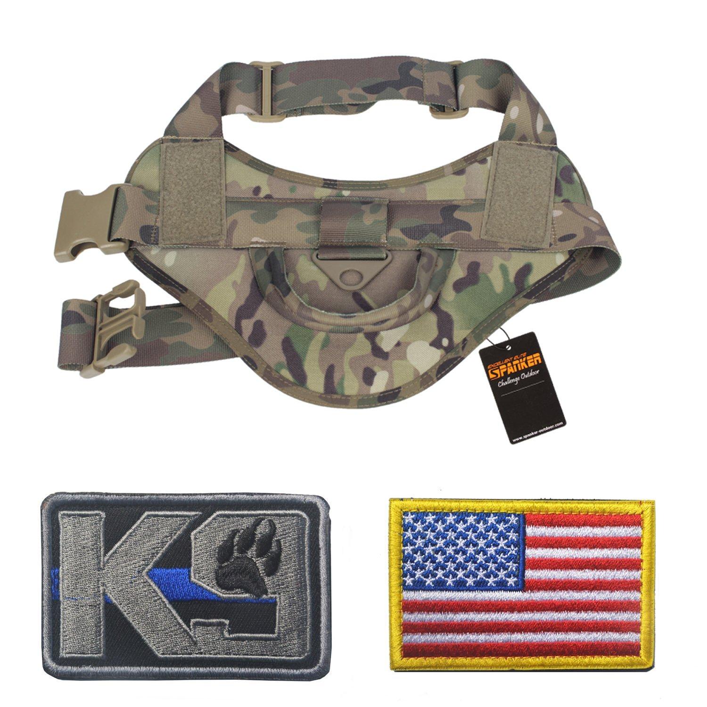 Homiego Adjustable Tactical Dog Training Vest Nylon K9 Service Dog Patrol Hiking Harness (MCP, L)