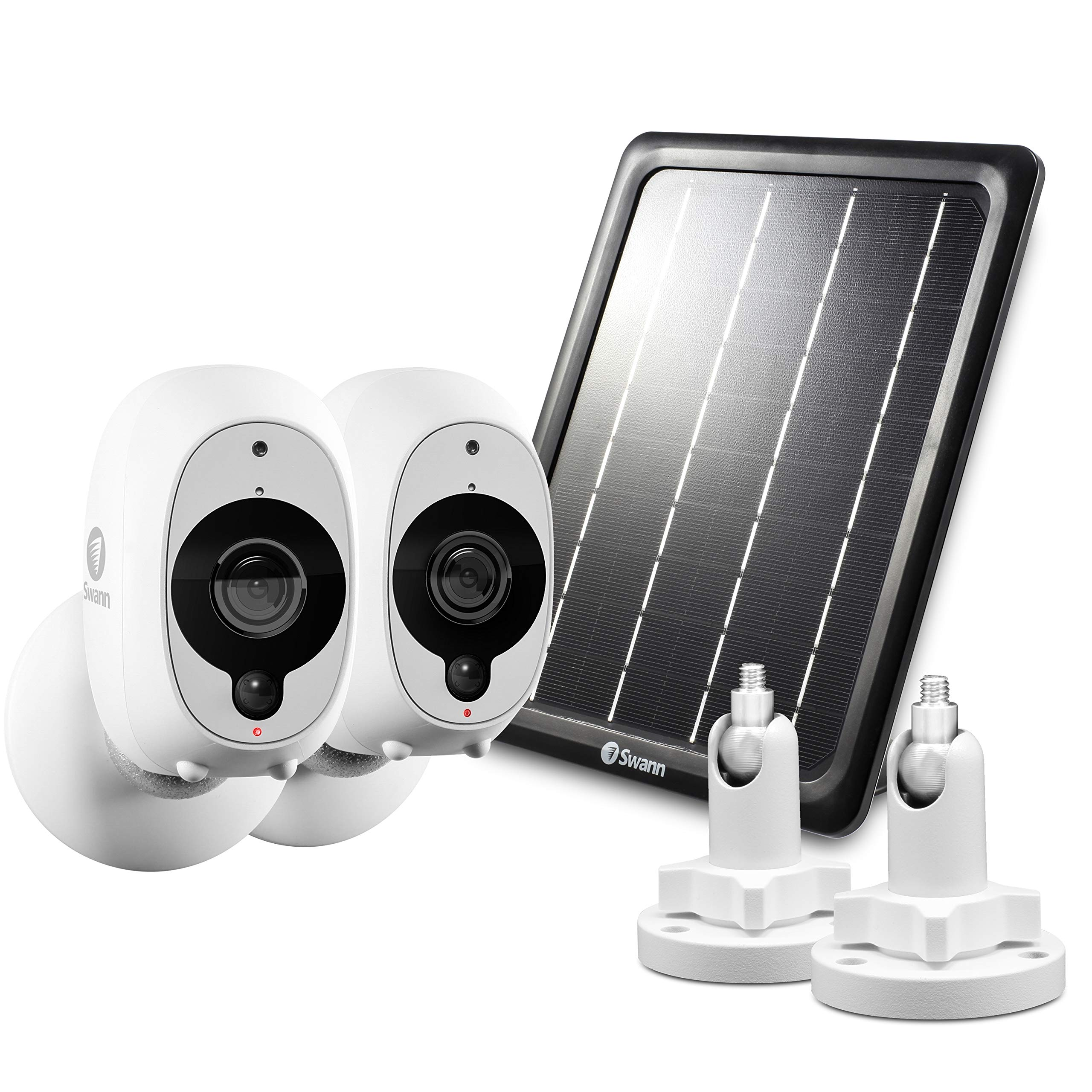 Swann Smart Security Battery Camera, Solar Panel and Mounts, White (SRWHD-INT2SOL1ST2-US) by Swann