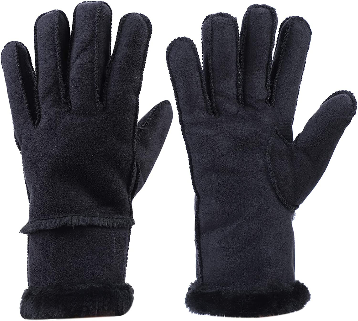 Faux Lambskin Shearling Leather Mitt Windproof Fleece Lined Gloves Winter Warm Cold Weather Mittens with Faux Fur Cuff