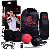 BOXERPOINT Boxing Reflex Ball for Adults and Kids - React Reflex Balls on String with Headband, Carry Bag and Hand Wraps…