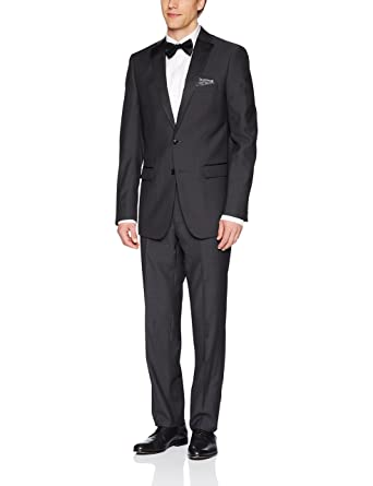 5756f71fc6 Calvin Klein Men's Mac Slim Fit Tux 2 Button Single Breast, Steel Gray, 36
