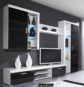 Wohnwand SAMBA mit LED Beleuchtung Wohnzimmer Möbel (Weiß ...