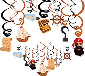 Kristin Paradise 30Ct Pirate Hanging Swirl Decorations, Pirates of the Caribbean Party Supplies, Birthday Theme Decor for Boy Girl Baby Shower, 1st Bday Favors Idea