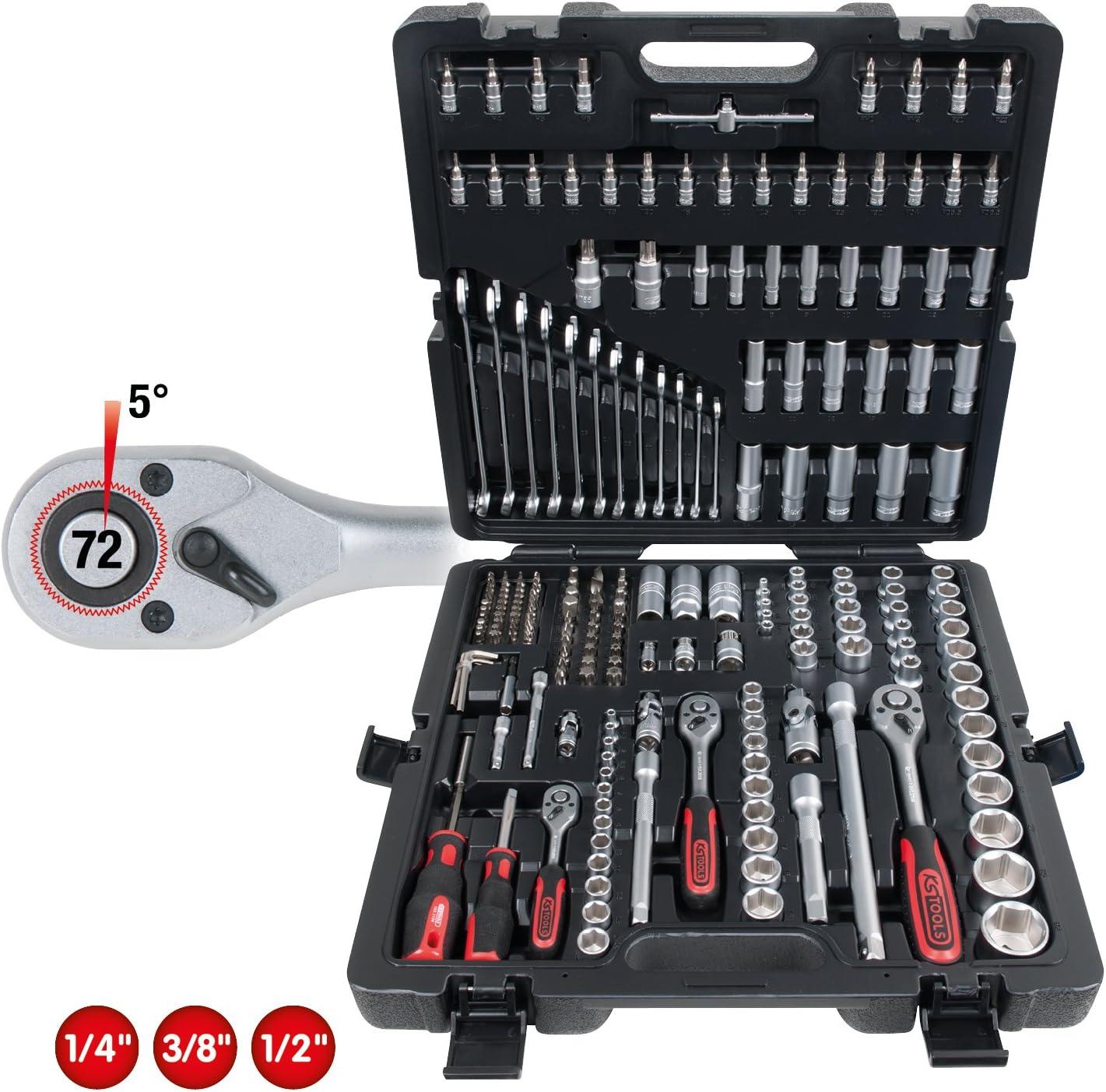 """KS Tools 1//4/""""+3//8/""""+1//2/"""" Clés à Douille-Jeu 216 Pièces"""