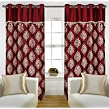 freehomestyle Polyester Blend Patch Damas Door Curtains (4x7 Feet, Maroon)