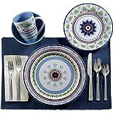 Euro Ceramica 16 Piece Zanzibar Dinnerware Set, Blue