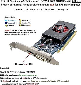 Amazon.com: DELL nj0d3 AMD ATI Radeon HD 7570 1 GB, puerto ...