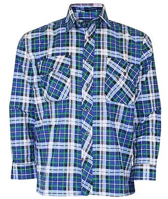 Herren Jungen Flanell Holzfäller gebürstet Baumwolle Casual Kariert Work  Shirt Top, Größen bis 5 X L
