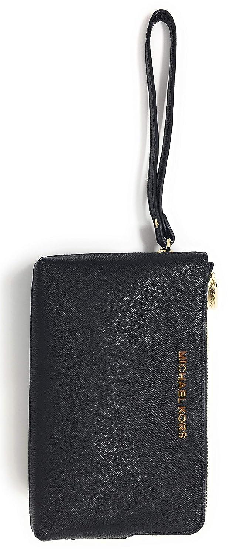 48a921a31b7d Michael Kors Jet Set Travel Large Double Gusset Top Zip Saffiano Leather  Wristlet (Black): Handbags: Amazon.com