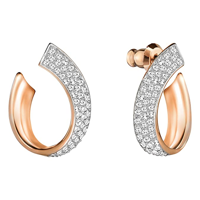 Swarovski Exist Pierced Earrings, Small, White, Rose gold plating
