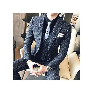 Mens Tweed Suit 2019 Black Grey Wedding Suit Men Complete