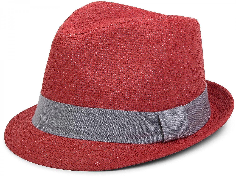 styleBREAKER Trilby Hut, leichter Papierhut mit kontrastfarbigem Zierband, Unisex 04025002