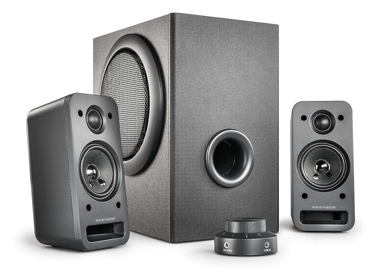 wavemaster MX3+ 2.1 Lautsprecher System (50 Watt) Aktiv-Boxen fü r TV/Tablet/Smartphone/PC schwarz (66503) 66510