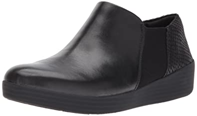 FitFlop Women's Superchelsea Slip-On Loafer, Black/Black Snake, ...