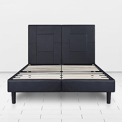 SLEEPLACE 14 Inch Dura Metal Faux Leather Wood Folding Full Platform Bed  Frame/Black PB