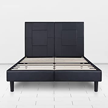 sleeplace 14 inch dura metal faux leather wood folding platform bed frame black new - Queen Bed Frame Black