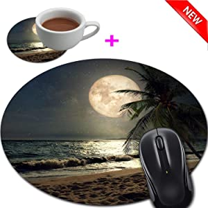 Mouse Pad and Coaster Set, Tropical Beach Night Sky Full Moon Mouse Pad Round Non-Slip Rubber Mousepad Office Accessories Desk Decor Mouse Mat for Desktops Computer Laptops