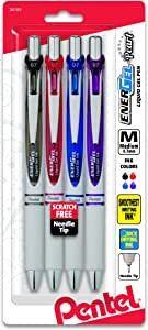Pentel EnerGel Pearl Deluxe RTX Retractable Liquid Gel Pen, 0.7mm, 4 Pack, Assorted Colors (BLN77WBP4M)