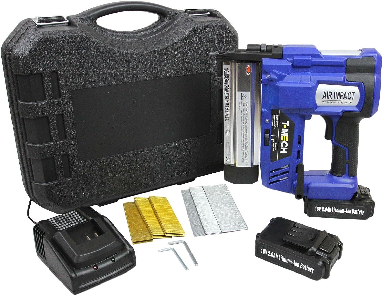 T-Mech - Pistola de Clavos Clavadora Grapadora Neumática 2 en 1 18V Sin Hilos con Batería Adicional de Larga Duración con 300 Clavos y 300 Grapas