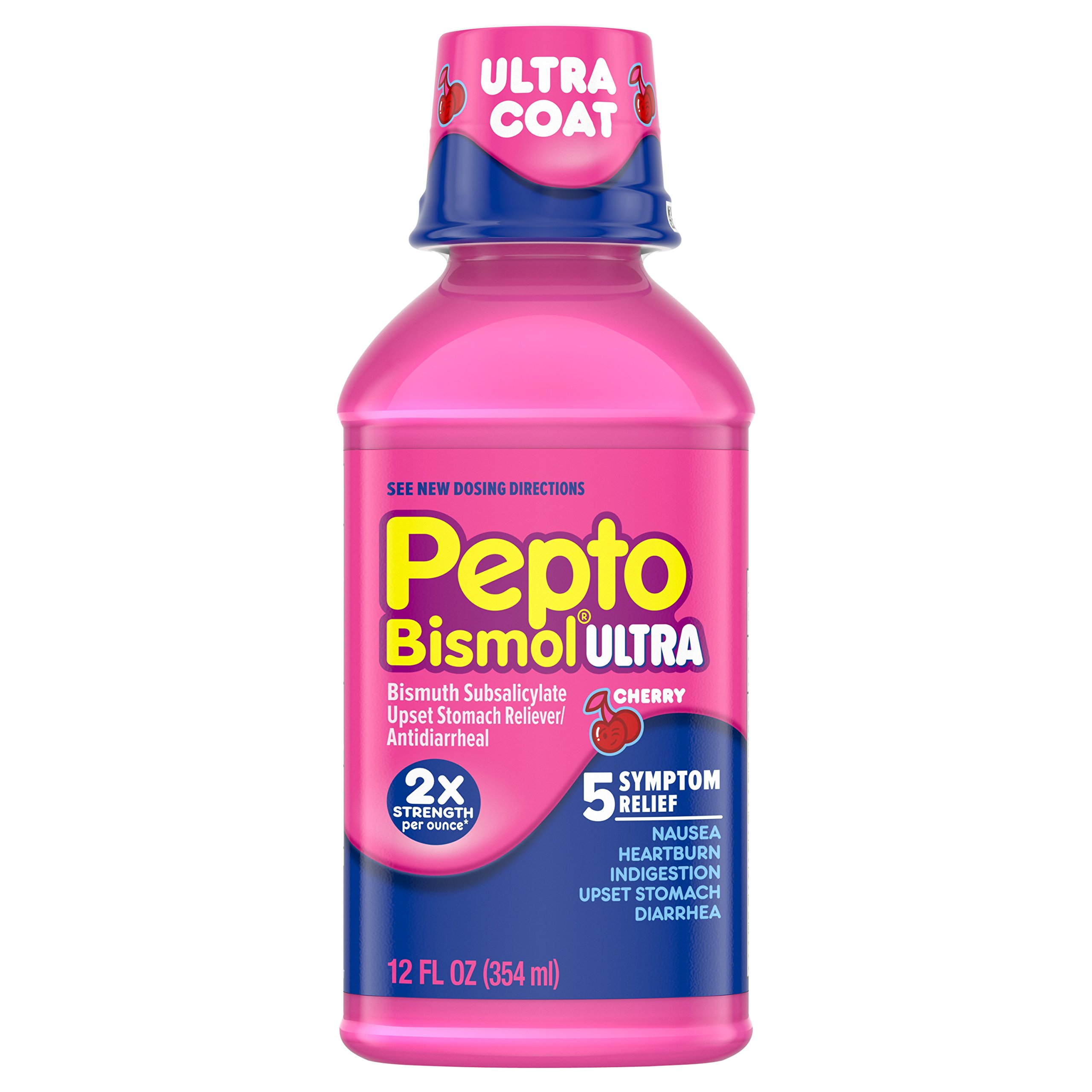 Pepto Bismol Ultra, Upset Stomach, Indigestion, Nausea, Heartburn and Diarrhea Relief Medicine, Cherry, 12 Fl Oz (Pack of 3) (Packaging May Vary)
