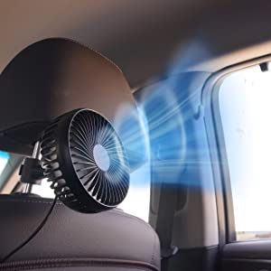 KMMOTORS Kooling Car Fan Automobile Vehicle Clip Fan Powerful Quiet Ventilation Electric Car Fans with Comfortable USB Plug for Car/Vehicle (One)