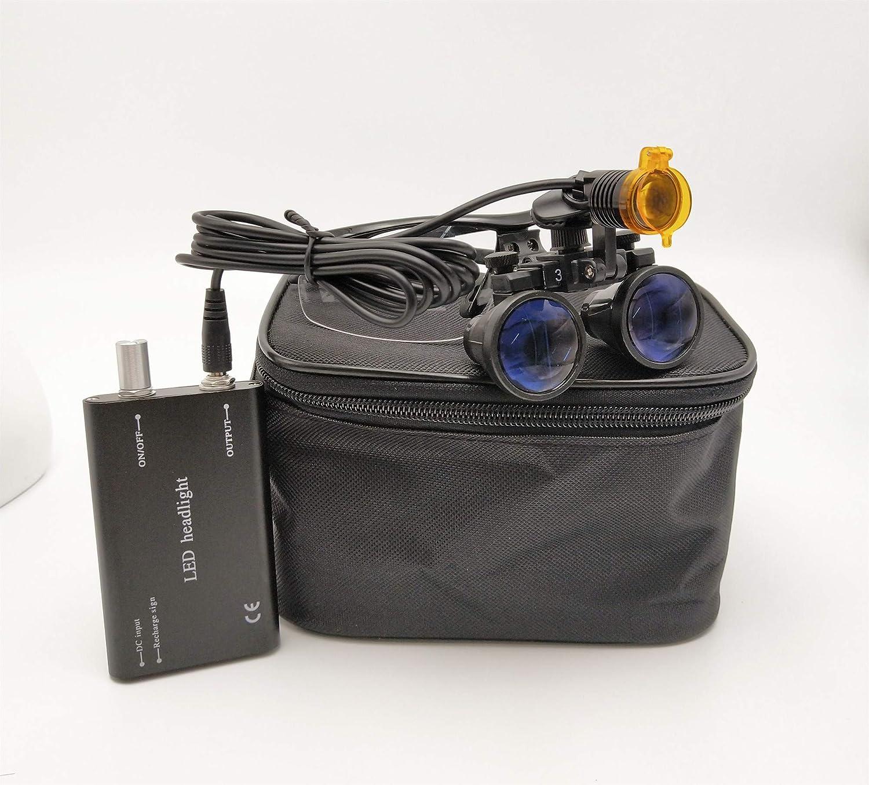 Zgood 3.5X 420mm Working Distance Surgical Binocular Loupes Optical Glass with 3W LED Head Light Lamp Aluminum Box Black
