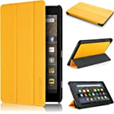Fire HD 8 Case 7th generation 2017 Release, Swees Slim Folio Protective Leather Smart Case Cover with Stand for All New Amazon Fire HD 8 Tablet with alexa 7th gen 2017 Kids Friendly, Canary Yellow
