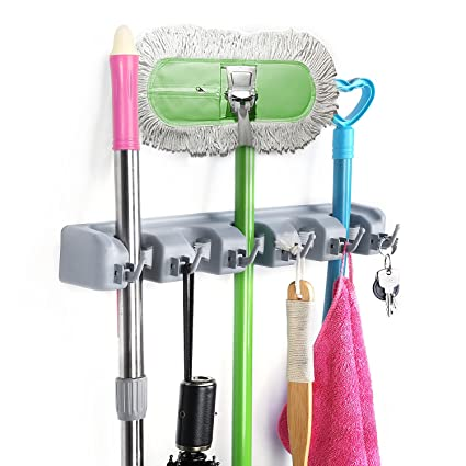 homeideas broom mop holder wall mounted garden tool rack garage storage organizer 5 position 6 - Garden Tool Rack