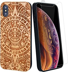 Aztec Mayan Calendar Wood Phone Case Compatible with iPhone 6,6s,7,8 Includes Strong 9H Protective Screen Protector