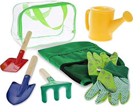 Arkmiido Kids Gardening Tools 6 PCS Garden Toy Set with Kids Watering Can /& Shovel /& Rake /& Fork /& Storage Bag /& Apron Outdoor Toys for Toddlers Kids Boys and Girls Gift
