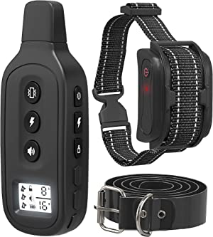 Yox Waterproof Dog Bark Collar with Remote - 1200 Foot Range for Dogs 15-100 LBS - 3 Training Modes, Adjustable Levels, Locking Keypad