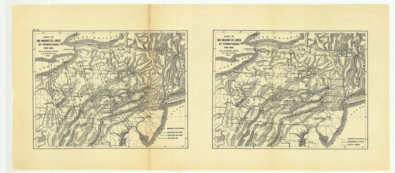 Amazon.com: 18 x 24 Canvas 1862 Pennsylvania old nautical map ...