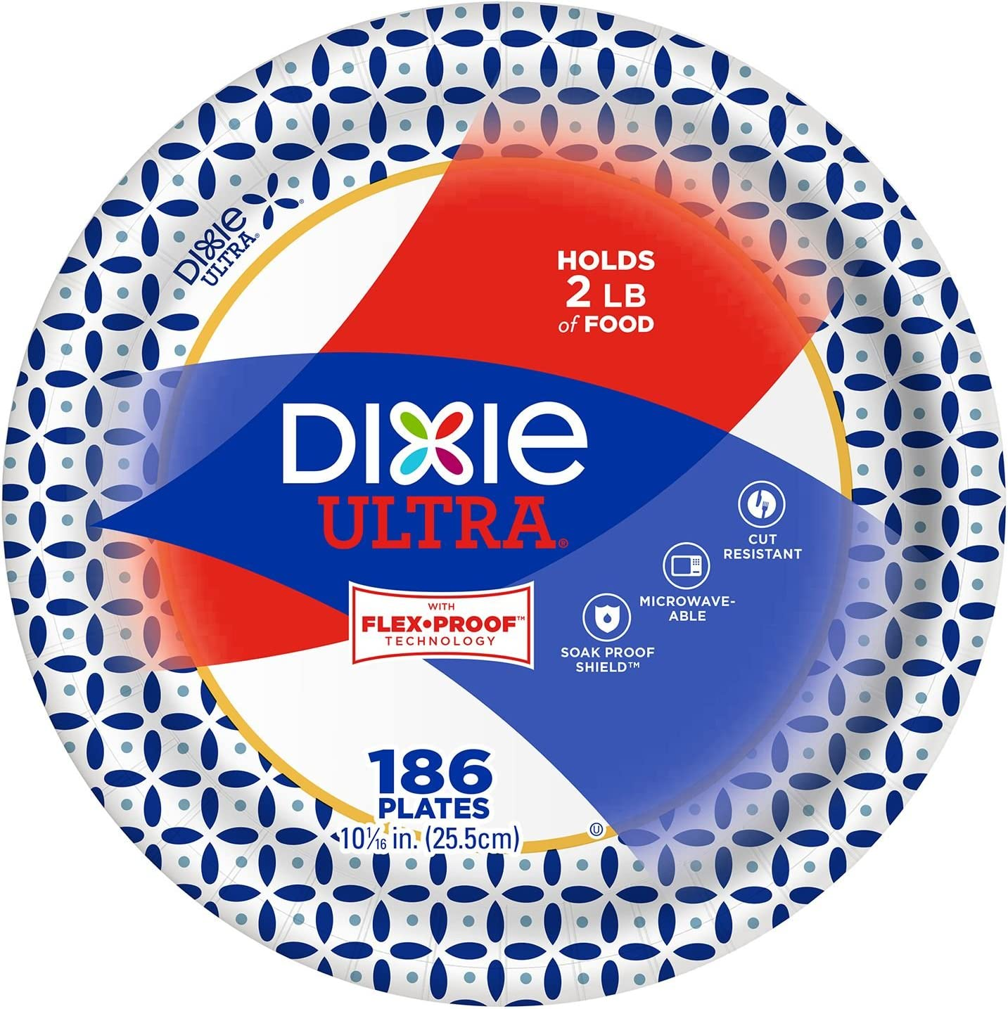 """Dixie 10 1/16"""" Big Party Pack, Microwavable Ultra Paper Plates, Soak Proof Shield - Heavy Duty Plates, - 186 Plates"""