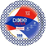 "Dixie 10 1/16"" Big Party Pack, Microwavable Ultra Paper Plates, Soak Proof Shield - Heavy Duty Plates, - 186 Plates"