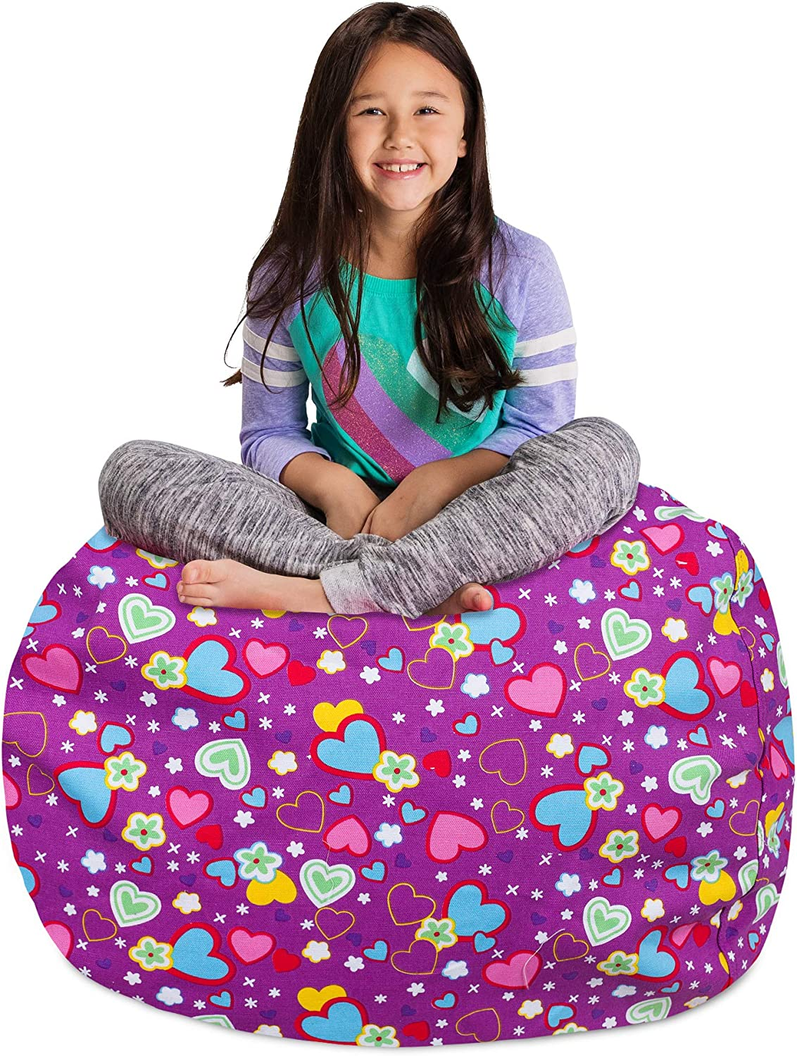 "Posh Stuffable Kids Stuffed Animal Storage Bean Bag Chair Cover - Childrens Toy Organizer, Large-38"" - Canvas Multi-Colored Hearts on Purple"