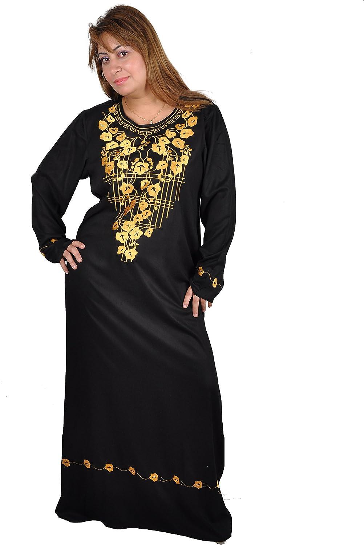 schwarz//Gold Egypt Bazar Eleganter Damen-Kaftan Hauskleid