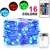 Sunnest LED String Lights,16ft 50 LEDs Fairy Lights Battery Operated, 16 Colors Waterproof Outdoor String Lights with Remote Control, Color Changing for Bedroom, Corridor, Patio, Garden, Yard