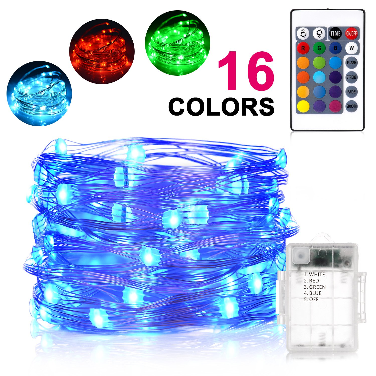 Sunnest Waterproof String Lights Outdoor, 16ft 50 LEDs Fairy Lights Battery Operated 16 Colors String Lights with Remote Control LED Lights for Bedroom, Corridor, Patio, Garden, Yard
